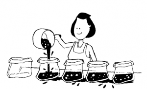 Cartoon of woman pouring food into bags