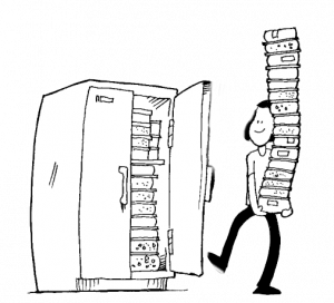 Cartoon of woman putting a stack of food into the freezer